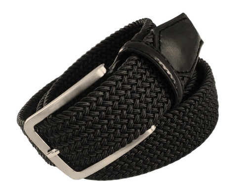 Compliment your Jeans or Trousers with our awesome stretch braided belt. Comfort is King Black Braided w/ Black Genuine Leather Tipping Stretch Width 35 mm Order 1 size greater than pant size. Made in Germany