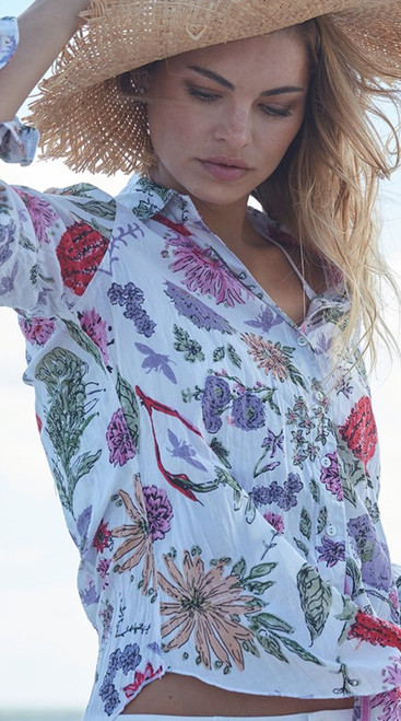 Pair with your favorite white bottoms and feel like a million in this beautiful floral.   Easy care: Machine wash cold and twist to dry for the crinkle effect.  May also be ironed for a crisper look.