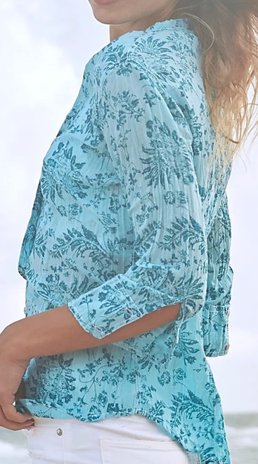 A turquoise jewel! 3/4 sleeve open collar neck  100% cotton print crinkle voile button down shirt with roll-up sleeves and ribbon detail.    Washes beautifully - Machine wash, twist and go!