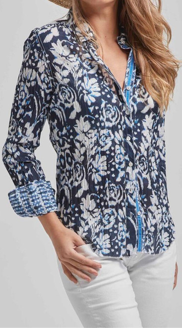 Anywhere, Anytime  - rich and elegant is this button up crinkle in Navy and White  100% cotton print crinkle button down shirt with roll-up sleeves and ribbon detail.    Washes beautifully - Machine wash, twist and go!