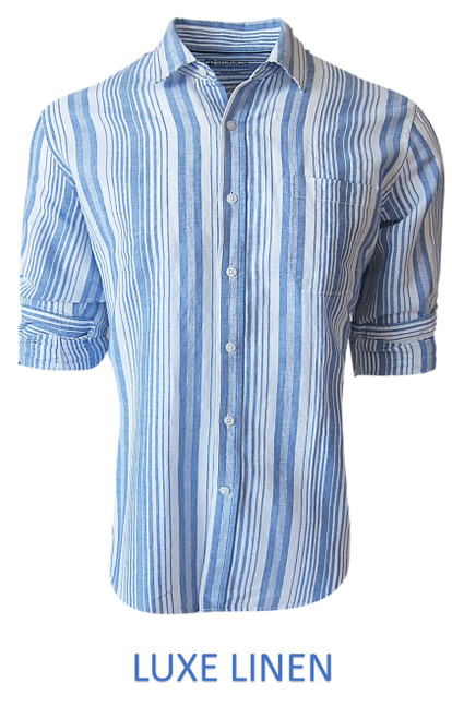 Perfect for warm weather our Long Sleeves Linen Shirts in a beautiful classic Blue & White Stripe Cool comfort with a relaxed fit, slightly tapered to be worn untucked or paired with a Georg Roth Tee and worn open. Machine or Hand Wash cold, lay flat to try. . . . . . . . #LinenShirts #GarmentDyed #LongSleeves #Shirt #Shirts