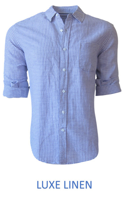 Perfect for warm weather our Long Sleeves Linen Shirt in a beautiful classic Lilac & White mini gingham check Cool comfort with a relaxed fit, slightly tapered to be worn untucked or paired with a Georg Roth Tee and worn open. Machine or Hand Wash cold, lay flat to try. . . . . . . . #LinenShirts #GarmentDyed #LongSleeves #Shirt #Shirts