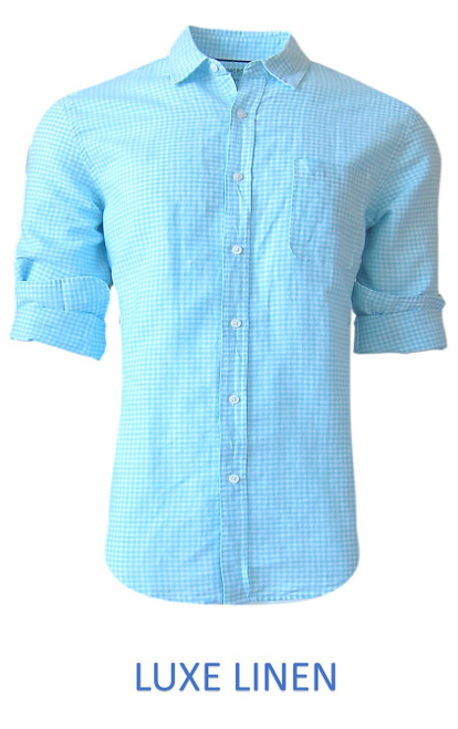 Perfect for warm weather our Long Sleeves Linen Shirt in a beautiful classic Aqua & White mini gingham check Cool comfort with a relaxed fit, slightly tapered to be worn untucked or paired with a Georg Roth Tee and worn open. Machine or Hand Wash cold, lay flat to try. . . . . . . . #LinenShirts #GarmentDyed #LongSleeves #Shirt #Shirts
