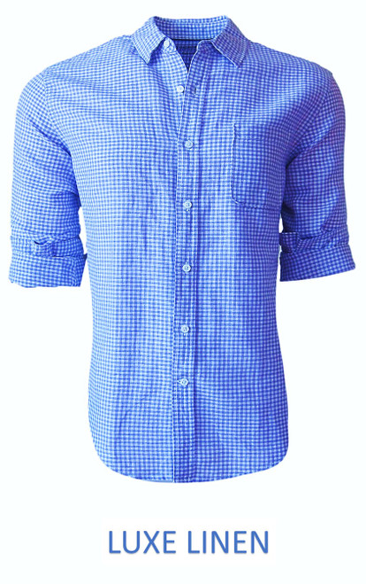 Perfect for warm weather our Long Sleeves Linen Shirt in a beautiful classic Blue & White mini gingham check Cool comfort with a relaxed fit, slightly tapered to be worn untucked or paired with a Georg Roth Tee and worn open. Machine or Hand Wash cold, lay flat to try. . . . . . . . #LinenShirts #GarmentDyed #LongSleeves #Shirt #Shirts