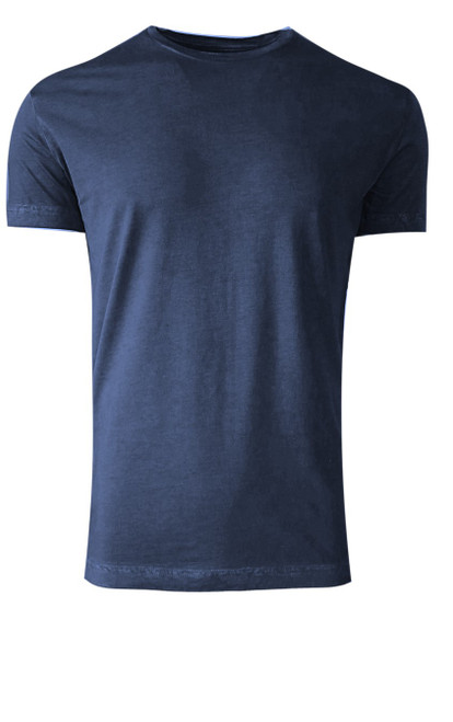 Luxury Crew Neck Short Sleeves Pima Cotton Mens Indigo TCSS-5402
