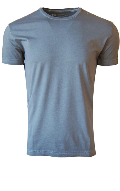 Luxury Crew Neck Short Sleeves Pima Cotton Mens T-Shirt Garment Dyed in a cool Capri Blue.  Georg Roth is proud to feature his love of T-shirts.  The World's Greatest T-Shirt Made of natural materials Our guarantee: 100% Supercombined Pima Cotton / Organic Wash UP TO 60 DEGREES Celcius or 130 Fahrenheit Zero percent shrinkage, dryer proof Maximum maturity of elasticity & shape Ecological dyes of supreme quality & free of chemicals Capri Blue Crew-Neck T-Shirt