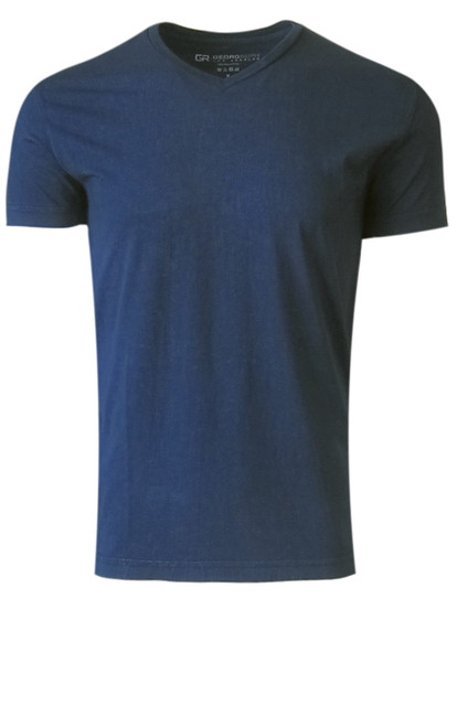 Luxury V Neck Short Sleeves Pima Cotton Mens T-Shirt in Garment dyed Indigo -   Georg Roth is proud to feature his love of T-Shirts.  The World's Greatest T-Shirt Made of natural materials Our guarantee: 100% Supercombined Pima Cotton / Organic Wash UP TO 60 DEGREES Celsius or 130 Fahrenheit Zero percent shrinkage, dryer proof Maximum maturity of elasticity & shape Ecological dyes of supreme quality & free of chemicals Indigo V-Neck T-Shirt