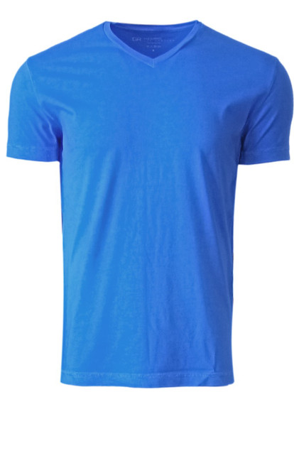 Luxury V Neck Short Sleeves Pima Cotton Mens T-Shirt Garment dyed in a brilliant Royal blue  Georg Roth is proud to feature his love of T-Shirts.  The World's Greatest T-Shirt Made of natural materials Our guarantee: 100% Supercombined Pima Cotton / Organic Wash UP TO 60 DEGREES Celsius or 130 Fahrenheit Zero percent shrinkage, dryer proof Maximum maturity of elasticity & shape Ecological dyes of supreme quality & free of chemicals Royal Blue V-Neck T-Shirt