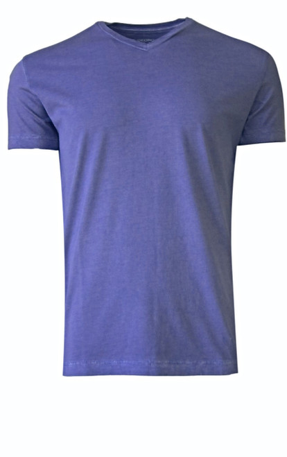 Luxury V Neck Short Sleeves Pima Cotton Mens T-Shirt Garment dyed in Purple  Georg Roth is proud to feature his love of T-Shirts.  The World's Greatest T-Shirt Made of natural materials Our guarantee: 100% Supercombined Pima Cotton / Organic Wash UP TO 60 DEGREES Celsius or 130 Fahrenheit Zero percent shrinkage, dryer proof Maximum maturity of elasticity & shape Ecological dyes of supreme quality & free of chemicals Purple V-Neck T-Shirt