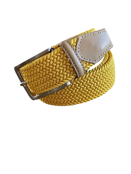 Compliment your Jeans or Trousers with our awesome stretch braided belt. Comfort is King  Sun-gold Yellow Braided w/ Taupe Genuine Leather Tipping  Stretch  Width 35 mm  Order 1 size greater than pant size.  Made in Germany