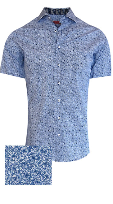 Summer ready - Short Sleeves  Crisp Blue & White all over patter with a Navy & Turquoise pattern in the collar and front placket piping.     100% Luxe Pima Cotton  Machine or hand wash cold, no bleach  Hang or lay flat to dry