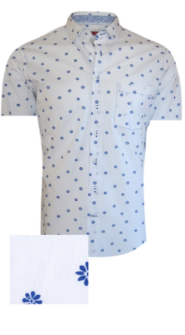 Summer ready - Short Sleeves  Crisp & clean white with a Royal blue motif pattern makes this great for casual or dress.  100% Luxe Pima Cotton  Machine or hand wash cold, no bleach  Hang or lay flat to dry