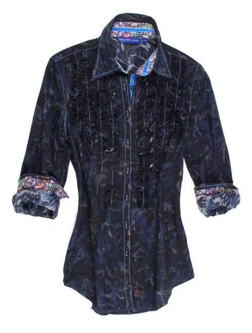 Dark blue Liberty of London mystery print. Detailed with ruffle front. Contrasted with a multicolor Liberty of London floral print inside the color and cuffs. Finishing touches of a royal blue crushed velvet ribbon inside the collar and inside front placket. 100% Cotton