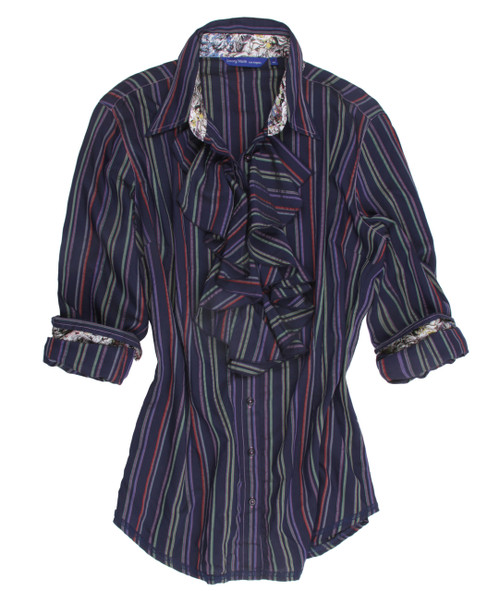 The sophisticated navy & multicolor stripe long sleeve blouse with ruffle front is contrasted with a Liberty of London multicolor fantasy print inside the collar stand, cuffs and on the outer collar stand. All seams are done to perfection with stitching in blue. 100% Viscose