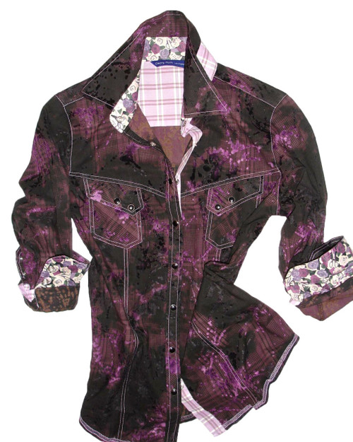 Down to earth and casual with style. Brown and black plaid with a burn out lilac velvet flocking all over design. Two flap diagnal pockets with snaps. Liberty of London whimsical contrast fabric in shades of lilac and magenta roses and scissors inside collar and cuffs. Additional companion plaid contrast on outer collar stand and inside front placket.
