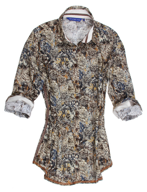 This sophisticated sand & beige Liberty of London fantasy floral long sleeve blouse is contrasted with a clean and crisp solid contrast inside the collar stand, cuffs and on the outer collar stand. Detailed with a brown crushed velvet ribbon inside the collar stand. All seams are done to perfection with contrast stitching in camel. 100% Cotton