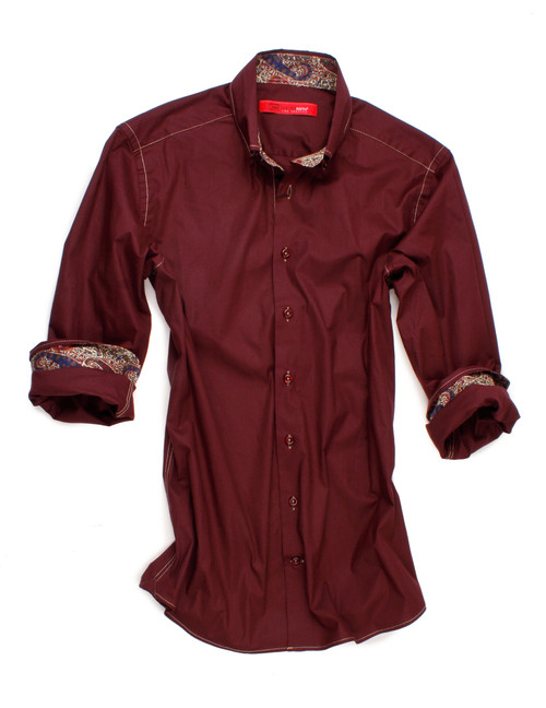 Soft & comfy burgundy stretch. Contrasted with a Liberty of London paisley print inside the collar and cuffs. GRLA City model with high 2 button collar stand and button-down collar. All seams done to perfection with contrast stitching in beige.  97% Cotton/3% Elastan