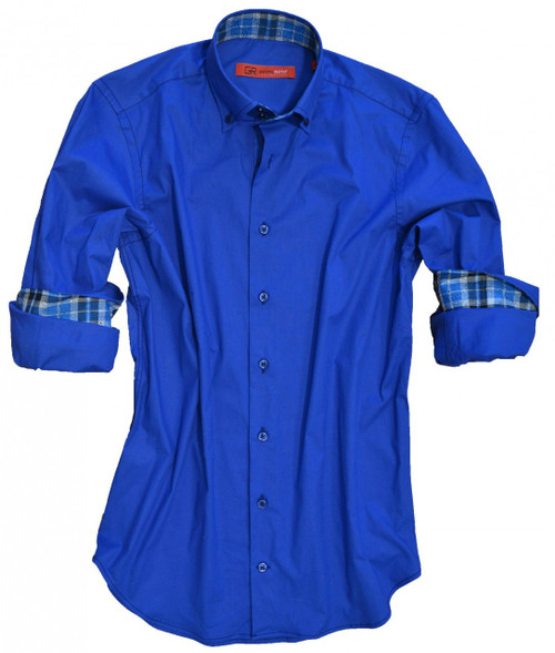 Soft and comfy stretch in royal blue. Detailed with shades of blues plaid contrast inside the collar and cuffs. GRLA City model with high 2 button collar stand and button-down collar.