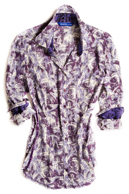 Liberty of London shades of lilac fantasy floral print. Detailed with a velvet burnout contrast inside the collar and cuffs. Finishing touches of purple sequins on the outer collar stand. All seams are done to perfection with contrast stitching in lilac. 100% Cotton