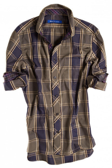 Grey-brown, eggplant & beige plaid. Detailed with an eggplant & lilac check contrast inside the collar, inside front placket and cuffs. Completed by 1 breast pocket on left side. All seams are done to perfection with contrast stitching in beige. 100% Cotton