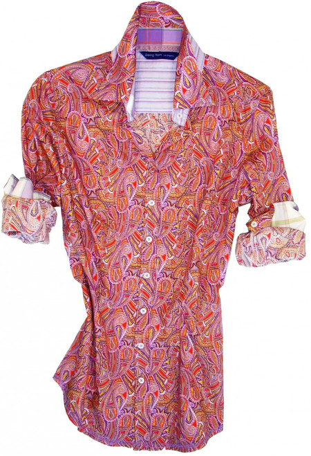 Liberty of London signature multicolor paisley print. Contrasted with lilac, green & off-white plaid in collar & cuffs. All seams with contrast stitching in lilac. 100% Cotton