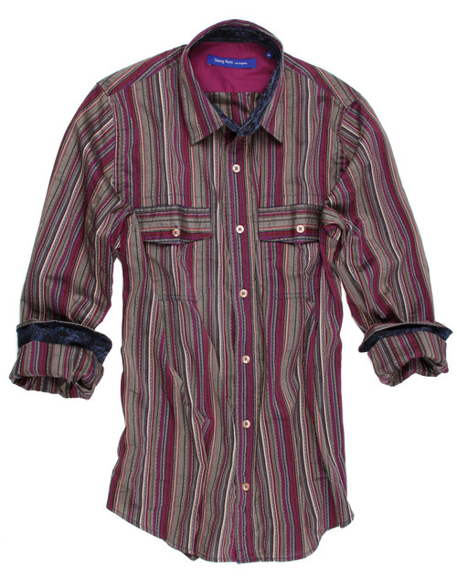 The vibrant magenta and sand stripe long sleeve shirt is contrasted with a grey & blue fantasy print inside the collar stand and cuffs. Detailed with a magenta solid contrast inside front placket and inside saddle. All seams are done to perfection with contrast stitching in greyish blue. Completed by 2 breast pockets with button closure. 65% Cotton, 35% Polyester