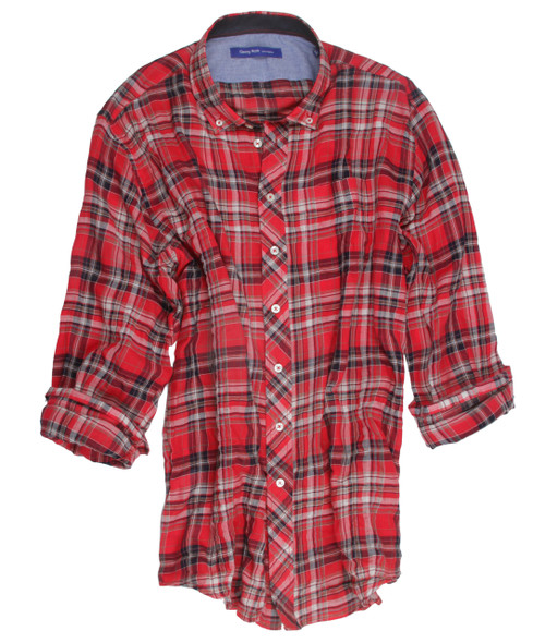 The vibrant red, ivory and navy plaid long sleeve shirt is detailed with a button-down collar and a midnight blue contrast inside the collar stand. All seams are done to perfection with contrast stitching in red.  99% Cotton, 1% Spandex