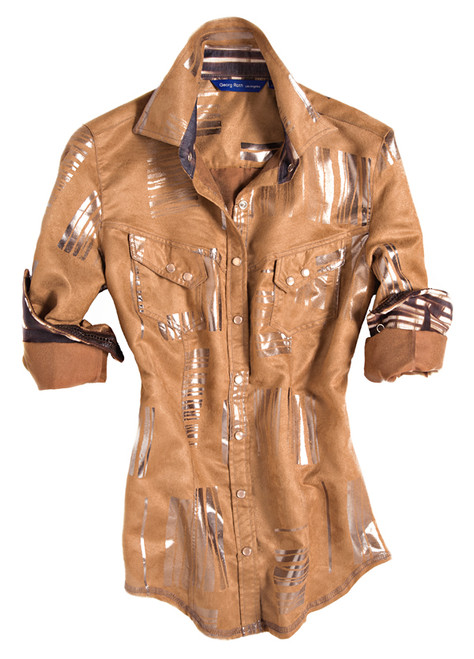 This Georg Roth Los Angeles Alissa long sleeve blouse has as sophisticated sense of style. The glamorous washable camel suede, with silver detail print on fabric is a real show-stopper. Finishing touches of a fantasy print in tones of brown, blue & creme inside the collar stand and cuffs. Completed by 2 diagonal flap pockets with snap closure. All seams are done to perfection with stitching in camel.  100% Polyester