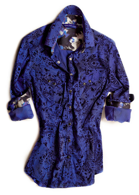 Cobalt blue detailed with a black fantasy velvet overlay. Contrasted with a Liberty of London shades of blue fantasy floral. Completed by 2 diagonal flap pockets with snap closure. Finishing touches of black sequins on the outer collar stand. All seams are done to perfection with contrast stitching in glitter blue.
