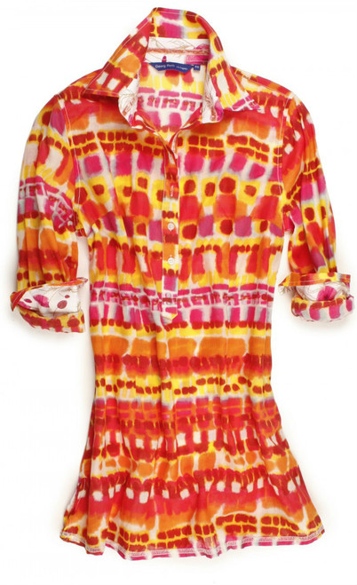 Shades of orange, pink, red and yellow tie-dye effect tunic. Contrasted with a white & pink Liberty of London poppy print inside the collar and cuffs. Detailed with a pink satin ribbon inside the collar and inside front placket. All seams are done to perfection with contrast stitching in light pink. 100% Cotton