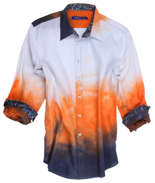 Soft Soft Soft, Tie-dye shirt in tones of orange and midnight. Contrasted with a Liberty of London multicolor art print inside the collar and cuffs. Details include an extended cuff. All seams are done to perfection with contrast stitching in navy. 100% Cotton