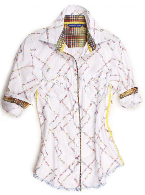Multicolor zig-zag embroidery on crisp white. Contrasted with a yellow & green print inside the collar, cuffs and on front placket piping. Completed by 2 diagonal flap pockets with snap closure. Finishing touches of a yellow crushed velvet ribbon inside the collar and down left & right side. All seams are done to perfection with contrast stitching in ice blue. 100% Cotton.