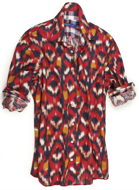 Santa Fe red fantasy print. Contrasted with a multicolor plaid inside the collar, cuffs and inside saddle. Details include an extended cuff. All seams are done to perfection with stitching in red. 100% Cotton