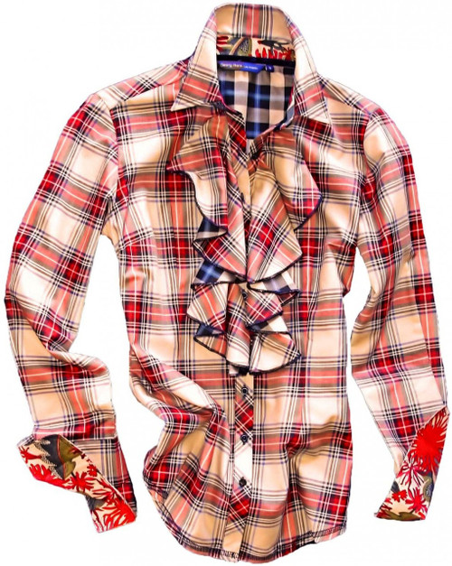 Soft Cotton plaid in creme & red with ruffle front. Contrasted with a blue & black plaid on the back of ruffle and inside saddle. Finishing touches of a Liberty of London floral contrast in collar and cuffs. Detailed with blue sequins on the outer collar stand. All seams are done to perfection with contrast stitching in black.