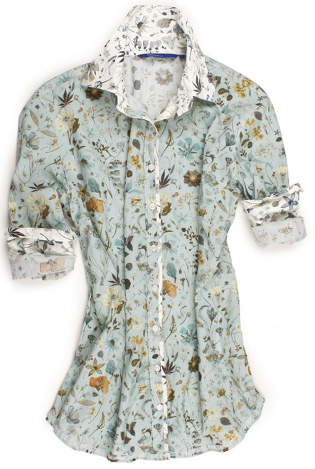 Liberty of London sea foam print.  Contrasted with an ivory Liberty of London sea foam print on collar, cuffs and on front placket piping.  All seams are done to perfection with contrast stitching in ivory.  100% Liberty of London Cotton