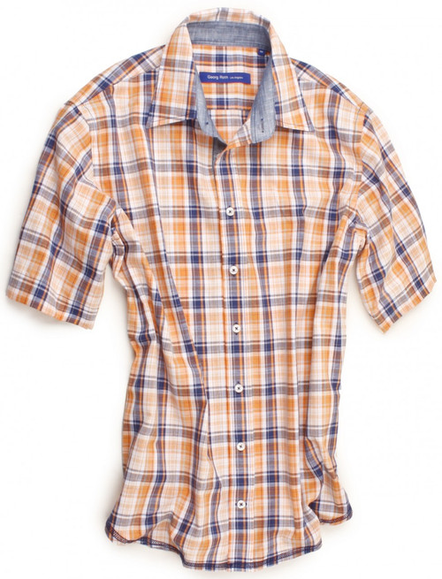 Orange, white & denim plaid in short sleeve. Detailed with a denim contrast inside the collar, on the outer collar stand and inside front placket. All seams are done to perfection with contrast stitching in blue. 100% Cotton