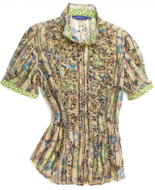 Pastel leopard cotton-silk short sleeve blouse. Detailed with a charming green Liberty of London floral print inside the collar and on cuffs. Details include a mini ruffle front and a ruffled collar. All seams are done to perfection with contrast stitching in beige. 70% Cotton, 30% Silk