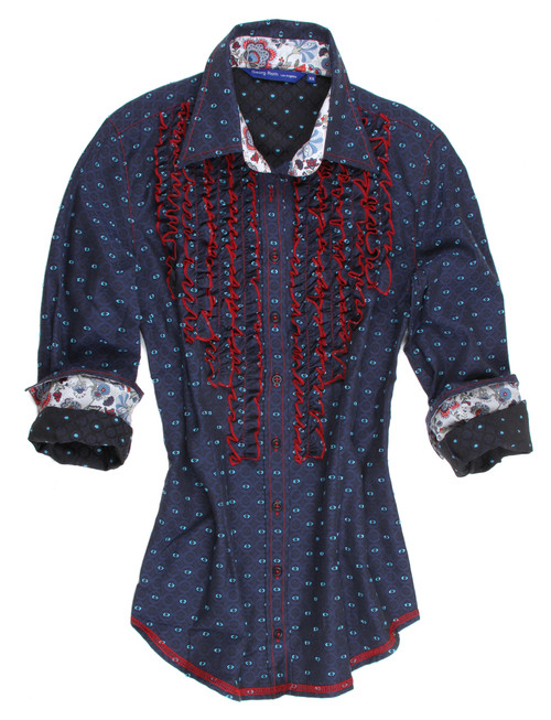The navy tone on tone long sleeve blouse is contrasted with a Liberty of London floral print inside the collar stand and cuffs and detailed with ruffles on front bib. All seams are done to perfection with contrast stitching in red.