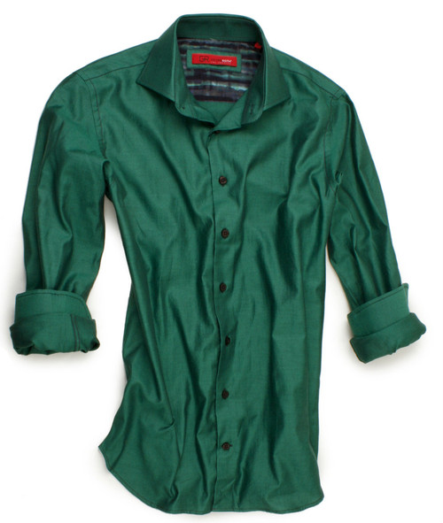 Bolzano-40033-020 | Distinctive rich all cotton long sleeve shirt in emerald green. The GRLA-City model is characterized by its spread collar. All seams are done to perfection with contrast stitching in dark blue. 100% Cotton