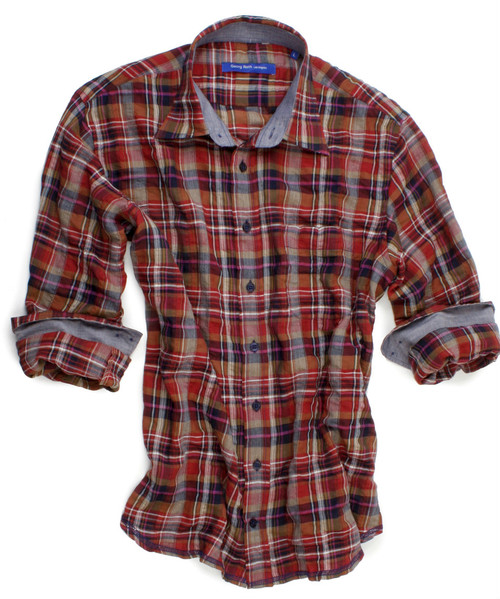 Gatlinburg-40048-013 | The slightly crinkled plaid long sleeve shirt in tones of orange, dark blue, magenta, beige and white is detailed with a blue oxford contrast inside the collar stand and cuffs. All seams are done to perfection with contrast stitching in blue. 99% Cotton, 1% Spandex