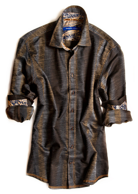 Big and Tall. Sophisticated in Style. This shades of brown & blue long sleeve shirt is detailed with a brown & blue paisley contrast inside the collar stand, cuffs and inside saddle. Finishing touches of a copper ribbon inside the collar stand. All seams are done to perfection with contrast stitching in copper. 100% Cotton.