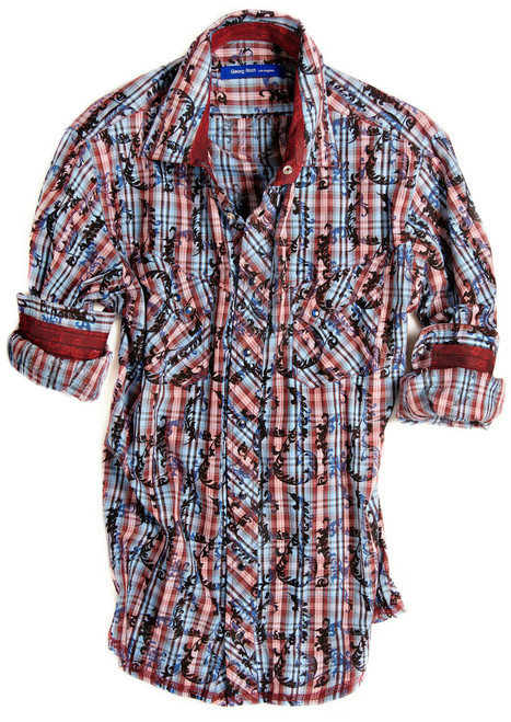 Big and Tall. Here comes a real show stopper. The burgundy and blue long sleeve check shirt is detailed with an anthracite and blue fantasy velvet overlay. Contrasted with a burgundy fantasy print inside the collar, cuffs and on the outer collar stand. Completed by 2 diagonal flap pockets with snap closure. All seams are done to perfection with contrast stitching in burgundy. 100% Cotton.