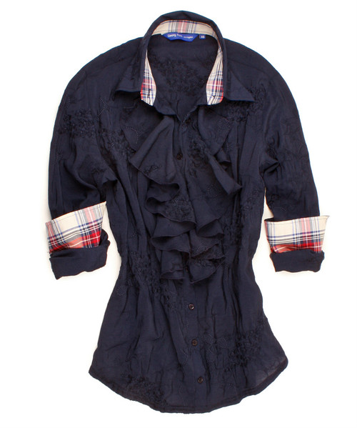 A true blue classic with a twist !   For work or play! Navy embroidery design on soft viscose with our signature ruffle. Enhanced with a dramatic plaid contrast of eggshell navy and red in the collar and cuffs.  Beautiful hidden detail of a navy and cream sequin under the collar stand. #GRLA