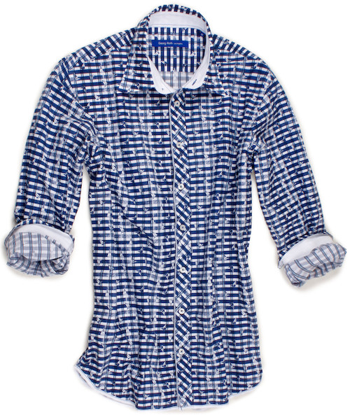 This 'Sailing Away' long sleeve shirt in tones of blue & white is not your average nautical sport shirt. This beautifully crafted and artfully designed shirt is detailed with a white contrast inside the collar stand, cuffs and inside front placket. Finishing touches of a blue & white stripe contrast on front placket. All seams are done to perfection with contrast stitching in blue. 100% Cotton.