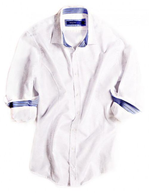 Big & Tall Understated but distinctive with great contrasting details. The white tone on tone long sleeve shirt is detailed with a light blue, white & navy striped contrast inside the collar and cuffs. All seams are done to perfection with stitching in white.