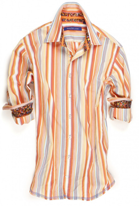 Make a bold statement with this melon, off-white and blue long sleeve stripe shirt. Detailed with a Liberty of London multicolor art print inside the collar and cuffs. Finishing touches of an orange ribbon inside the collar. All seams are done to perfection with contrast stitching in blue.