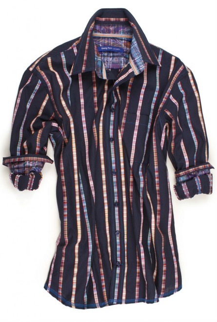 Add some color to your wardrobe with this sophisticated navy multicolor long sleeve stripe shirt. Detailed with a multicolor plaid inside the collar stand and cuffs. Completed by one breast pocket on left side. All seams are done to perfection with contrast stitching in royal blue.