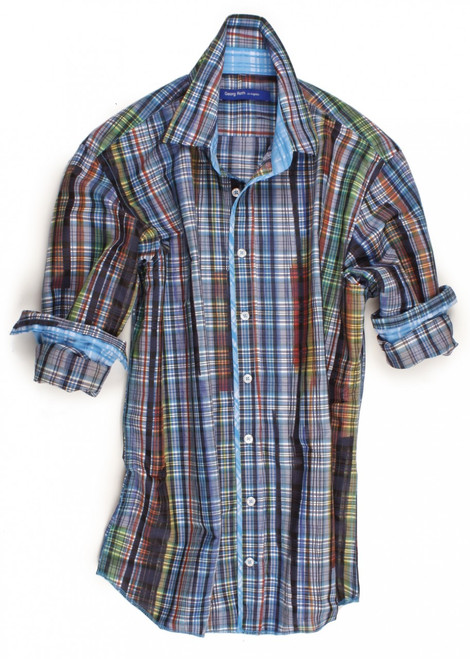 The reinvention of plaid. This blue, orange, green & yellow long sleeve plaid is detailed with an ice-blue check inside the collar, cuffs and on front placket piping.  All seams are done to perfection with contrast stitching in ice-blue.