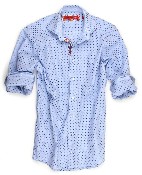 Dots are trending and Georg Roth is on it! Soft and lightweight beautiful light blue and navy Dot pattern. Perfect for dress or casual. Detailed to perfection with a light dot inside the collar and cuffs and only Georg Roth could be so creative to embellish the placket with a Liberty of London multi color print. 100% Cotton