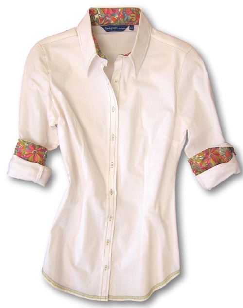 White stretch with Liberty of London magenta floral contrast in collar & cuffs. All seams with contrast stitching in kiwi green. 97%CO 3% Elastane